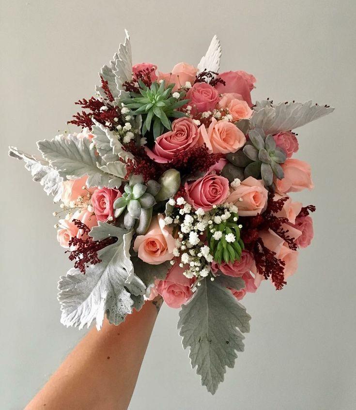 CBR473 wedding Riviera Maya pink, Marsala and grey flowers for bridal bouquet