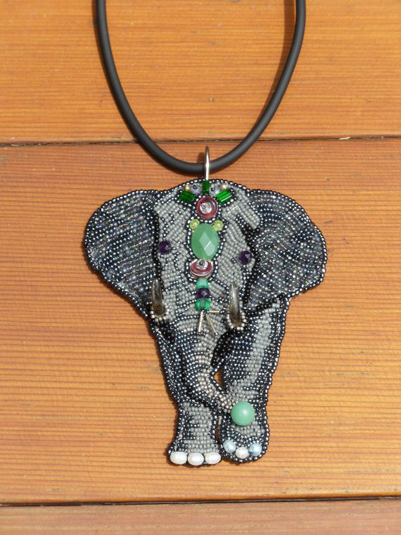 Beaded Elephant Bead Embroidered Necklace