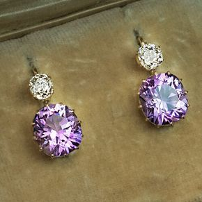 Antique Russian Amethyst Diamond Gold Earrings - Made on the city of Kazan between 1908 and 1917. Rare Siberian Amethyst are usually associated with deep royal purple, although it's not always the case. Here is a pair of antique Russian (fully hallmarked) earrings set with cushion-cut Siberian Amethysts of a brilliant light lavender purple color with splashes of pink, accented by old cushion- cut Diamonds. Estimated total Amethyst weight is 6.04ct; total Diamond weight – 0.96ct. •$8,900.00