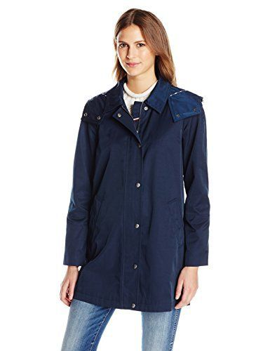 New Trending Outerwear: Tommy Hilfiger Womens Aline Swing Coat, Navy, L. Tommy Hilfiger Women's Aline Swing Coat, Navy, L   Special Offer: $42.46      277 Reviews 30 inches single breasted zip front covered placket aline jacketDetachable hoodSnap closeWelt pocket