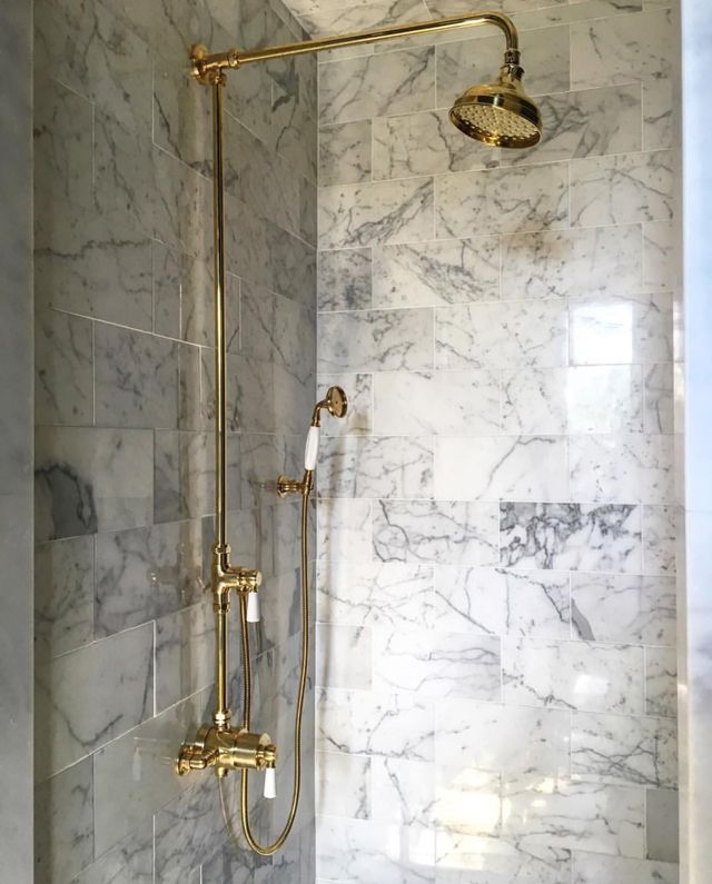 Dissecting the Details: Shaun Smith   La Dolce Vita, large carrara tile in shower