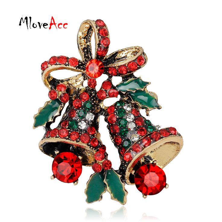 MloveAcc Crystal Rhinestone Kleine Kerstcadeaus Bell Broches Kerst Broche Leuke Mooie Vrouwen Sieraden Gift voor het Nieuwe Jaar
