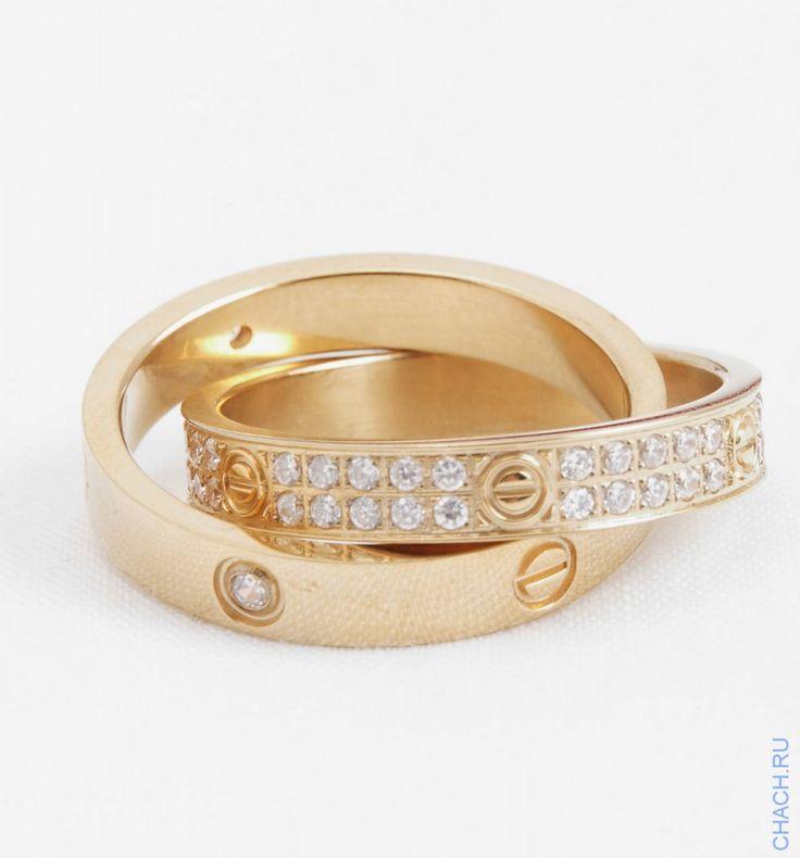 Кольцо Cartier двойное с кристаллами, цвета желтого золота