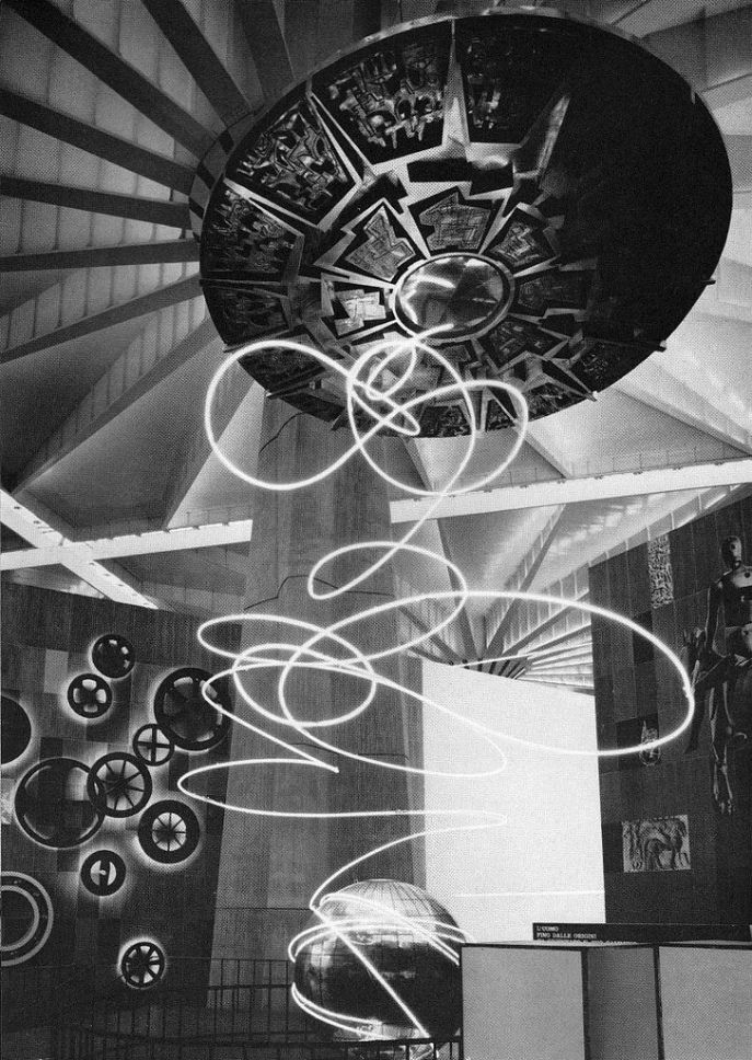 Italia 61 - This installation sculpture was featured in the 'Transport' section of the Italian exhibition, handled by Fiat. Architect, Erberto Carboni; designers Erberto Carboni and Giovanni Ferrabini. From Graphis 99, 1962.