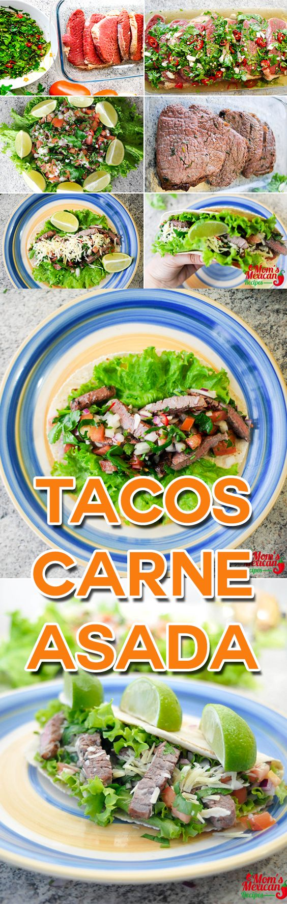 . The Tacos Carne Asada Recipe is made of Flank steak marinated in Mojo paste.  And adding Pico de Gallo in the mixture gives you the feeling of eating delicious authentic Mexican food.  Meat should be marinated overnight before cooked on a grill over charcoal.