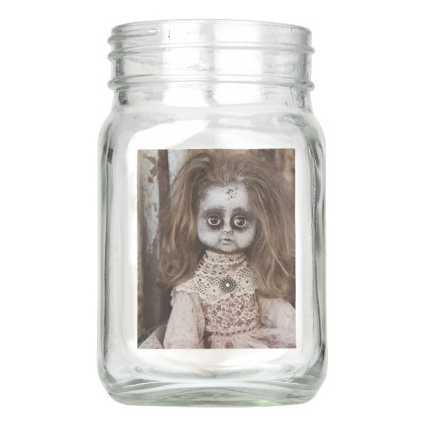Creepy Gothic Porcelain Doll Victorian Goth Mason Jar #halloween #holiday #drinkware #party #cups