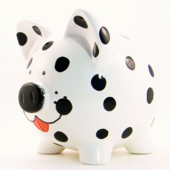 Dalmation Dog Piggy Bank Personalized Piggy Bank por ThePigPen
