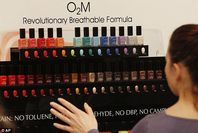 O2M breathable nail polish display at an Inglot shop - nail polish doesn't have harmful chemicals and is breathable