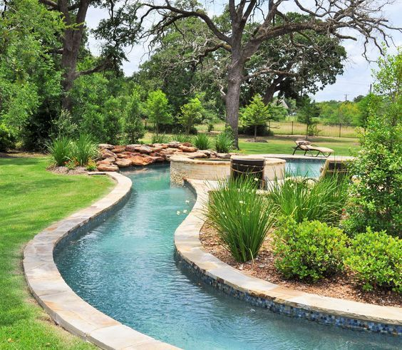 View Sunshine Fun Pools pool water features gallery We serve Bryan College  Station, Brazos Valley, & beyond. Lazy River in your backyard.