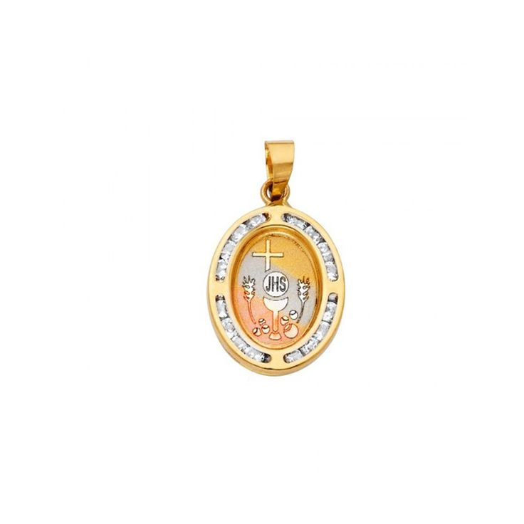 14k Yellow Gold Holy Communion Channel Cubic Zirconia Oval Pendant. 14k Yellow Gold. Holy Communion Channel Cubic Zirconia Oval Pendant. Seamless design and quality craftsmanship. Comes in a beautiful jewelry box. Chain not included.