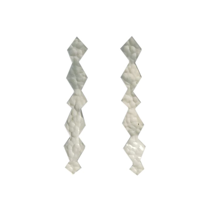 One-of-a-kind earrings, handmade in sterling silver with a hammered, high polish finish.