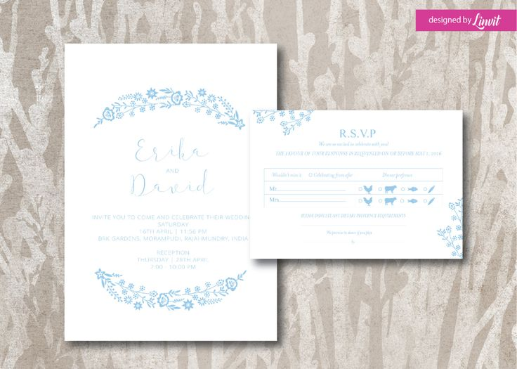 Minimalist wedding invitation-Digital wedding invitation-Printable wedding invitation set-Custom wedding invitation-Floral-Spring Wedding  by Linvit on Etsy