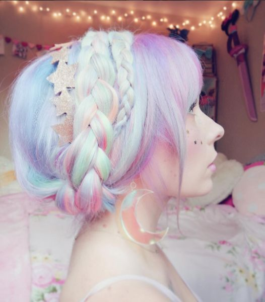blue, purple, pink, pastel dyed hair, stars