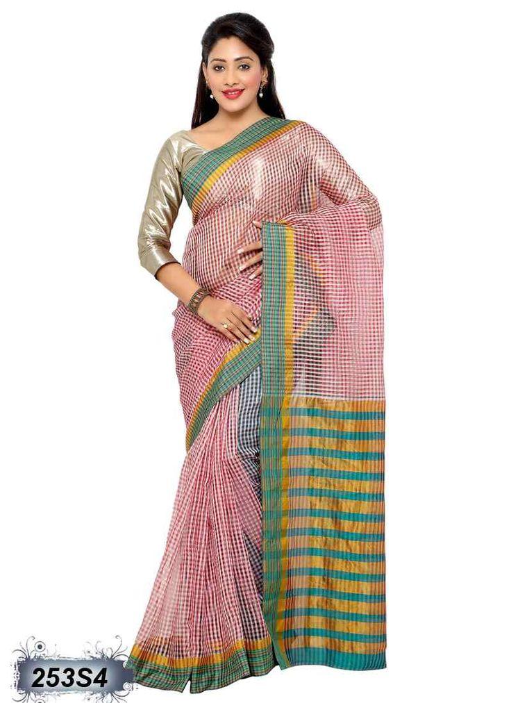 Beautiful Pink Coloured Chanderi Printed Saree