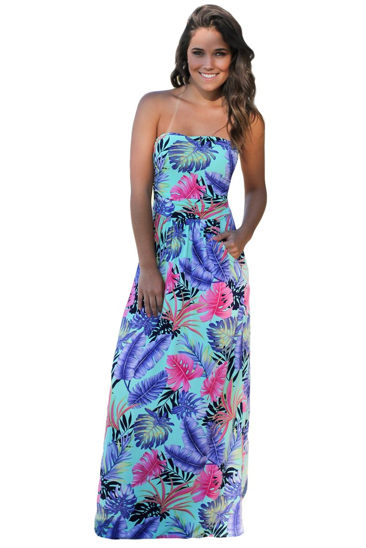 Chicloth Mint Tropical Strapless Maxi Dress with Pockets