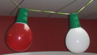 That is really Pinteresting!: Ms. Zeida's Christmas Bulb Decorations for your office party. Balloon + Cup + Ribbon = Christmas Light Decorations!