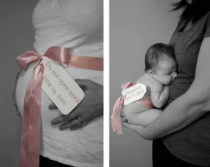 Take a picture before the due date. Then when you have the baby take another picture on the day its born