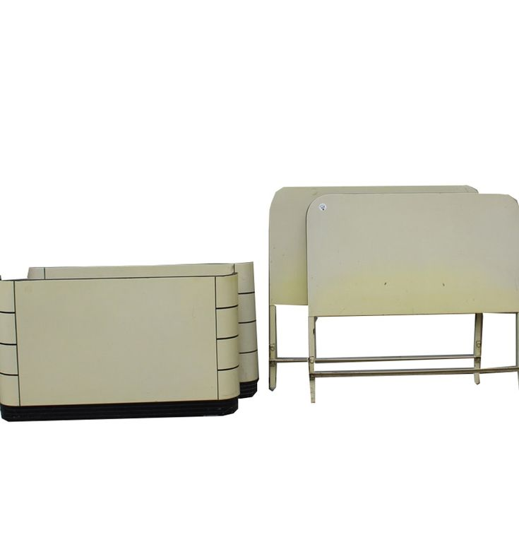 Pair Of Beige Twin-Sized Art Deco Metal Bed Frames By Norman Bel Geddes For Simmons Furniture