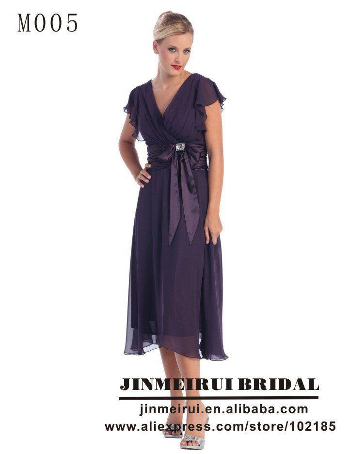 Dark Purple Ruffled Sleeves Tea Length Mother Of The Bride Dresses