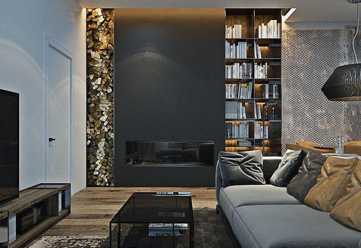 ... blanc avec canapé gris, plancher bois et rangement bois de chauffage