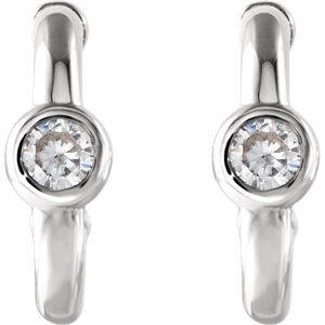 14K White 3mm Round Forever One™ Moissanite Earrings