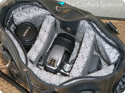 DIY Camera Bag Tutorial - Insert designed around the dimensions of your purse.