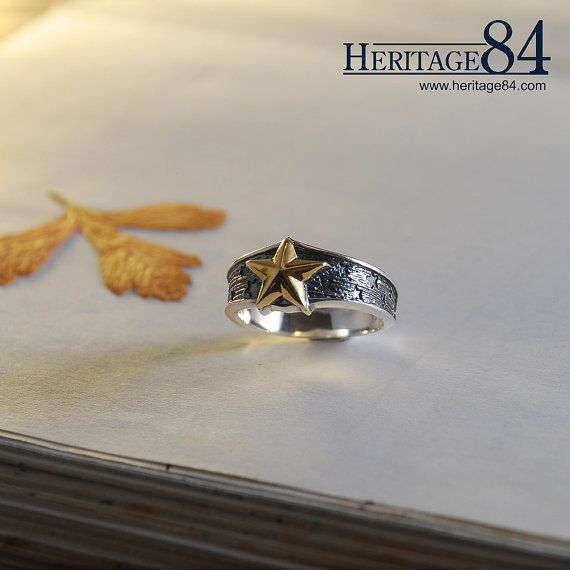 Star silver ring gold plated sterling silver band ring for