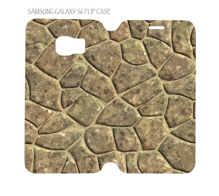 Samsung Galaxy S6 G920 Folio Flip Case Nature Stone Pattern #01 #QuinnCafe