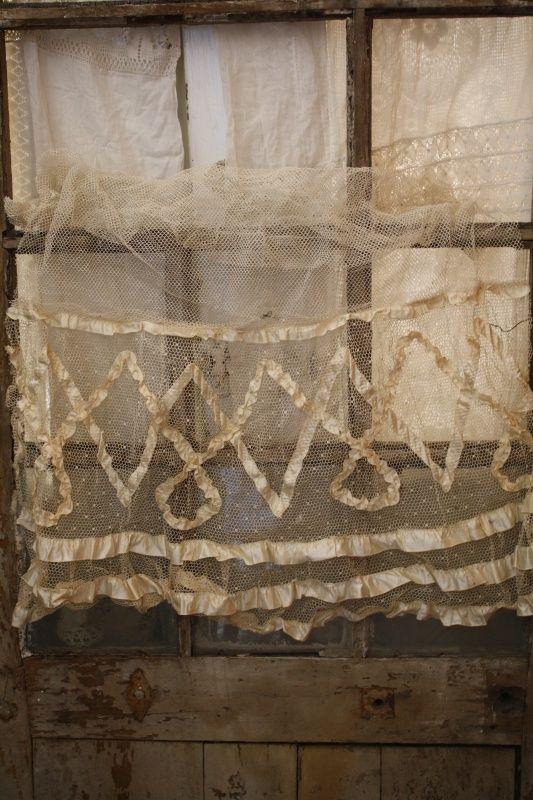 ♕ gorgeous curtain ~ Handgemaakt stijf tule stuk stof