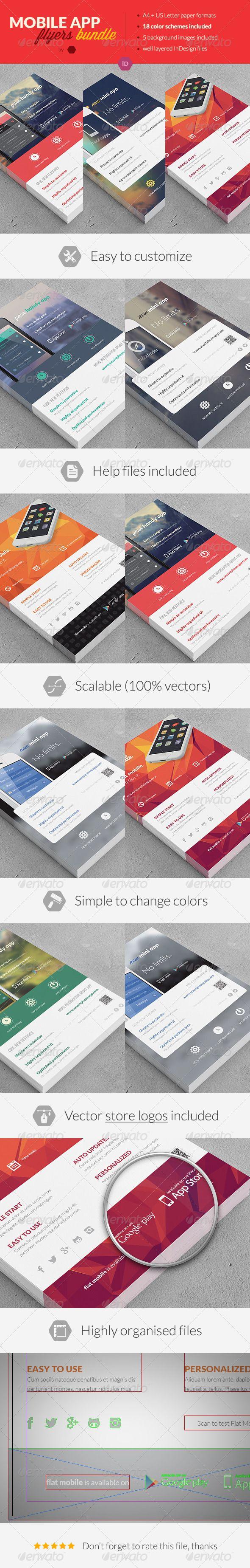 Bundle 3x Mobile App Promotion Flyers / Phone App - Commerce Flyers