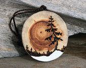 The Rising Sun - Handmade Driftwood Tree Ornament - Wood Burning