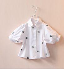 10721 - 36 девочки блузы рубашки белый вышивка цветы отложным вниз воротник короткий рукав дети одежда много(China (Mainland))