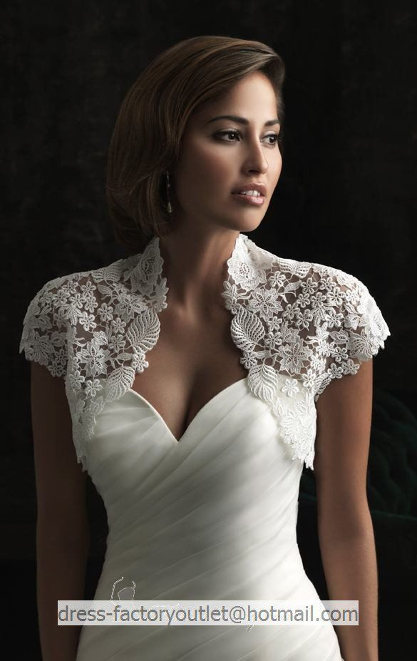 Ivory white lace bridal dress jacket short sleeves wedding for Wedding dress lace bolero