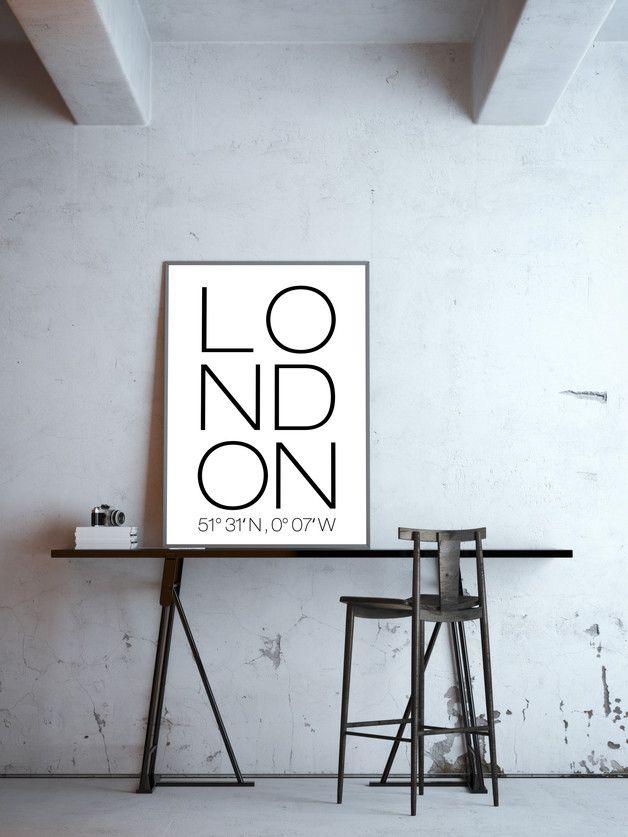 Minimalistisches Typo-Poster für London Liebhaber, Plakat, Wanddekoration / minimalistic art print for london lovers made by goodgirrrl via DaWanda.com