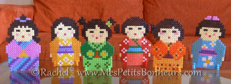 poupées kokeshi perles hama a repasser