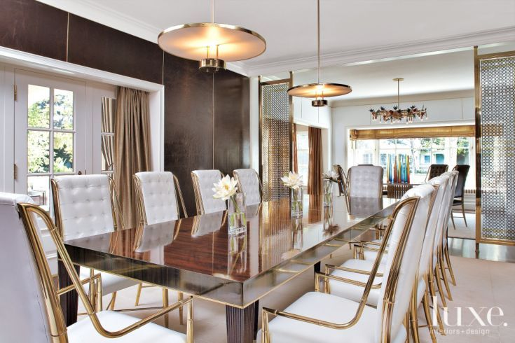 Transitional White Dining Room With Gold Accents Luxe
