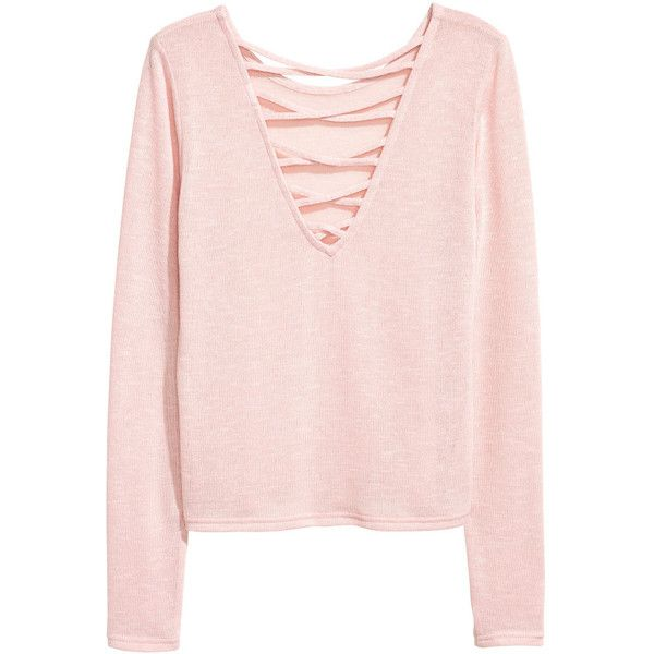 Sweatshirt 9,99 (£9.85) ❤ liked on Polyvore featuring tops, hoodies, sweatshirts, pink v neck sweater, surplice top, extra long sleeve sweater, long sleeve v neck sweater and long sleeve tops