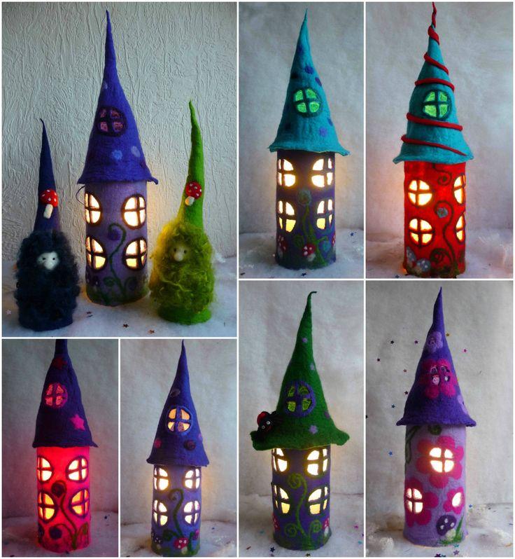 felted fairy lamp, bedside lamp, night light, handmade, wool, felt, fairy light, Waldorf inspired by FeltedArtToWear on Etsy