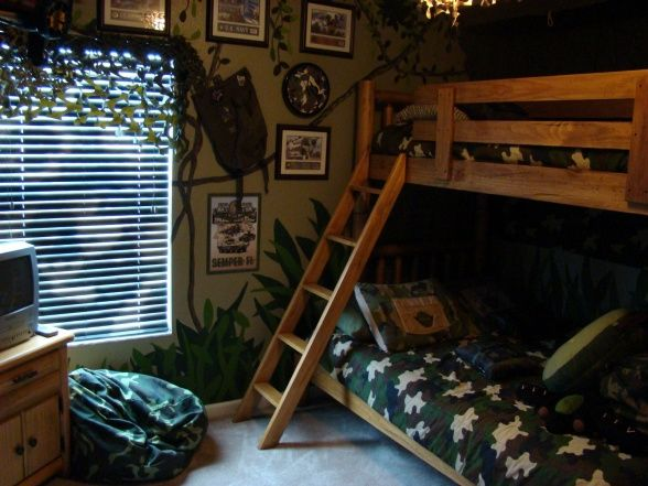 Camo Boys Bedroom by DSNY HOMES, Hi Everyone, This themed bedroom is in one of our family vacation rental homes near Disney in Orlando. You can view more photos at http://www.dsnyhomes.com, 3rd view , Boys Rooms Design