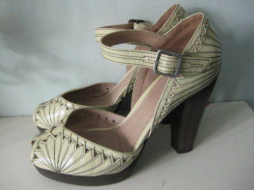 REPRO 1940s vintage wartime style TOPSHOP leather art deco shoes uk 6 39   eBay