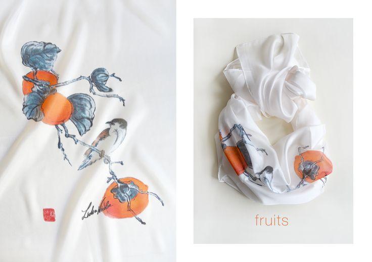 Fruit Scarf, printed on organic silk with my asian painting. Enjoy! #fruits #orange #scarf #silk #spring #bird #lidianicolae