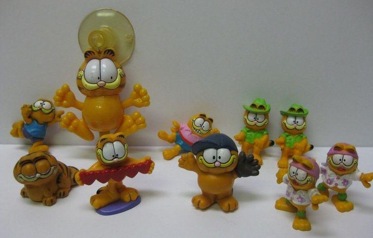 GARFIELD CAT -  Lot of 10 assorted figures, Window Stick up,Vintage 1980s, 10