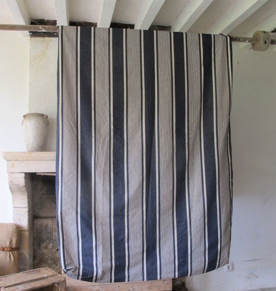 Antique French cotton stripe thick mattress cover // French