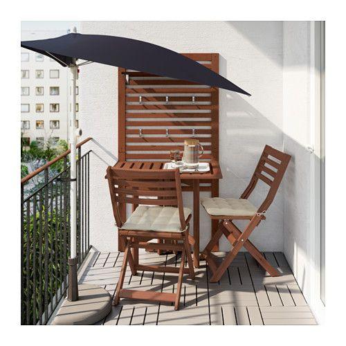ÄPPLARÖ Panel prd+mesa pleg+2 sill - Äpplarö tinte marrón/Hållö beige - IKEA