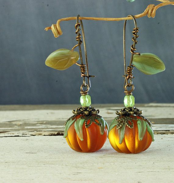 """These are very artistic earrings And I like this as much as the necklace that I have saved to this board. """"Pumpkin Earrings Halloween Earrings"""""""