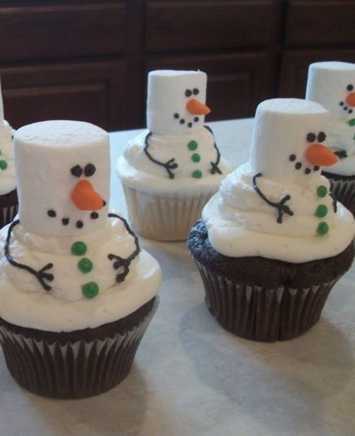 Went to snowman cupcakes with marshmallows on top with white frosting good idea for parties
