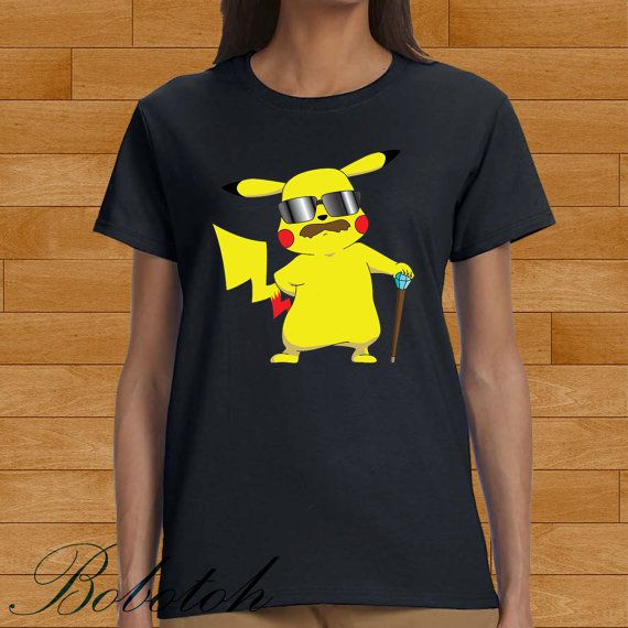 pikachu with mustache design for men and women t-shirt by bobotooh