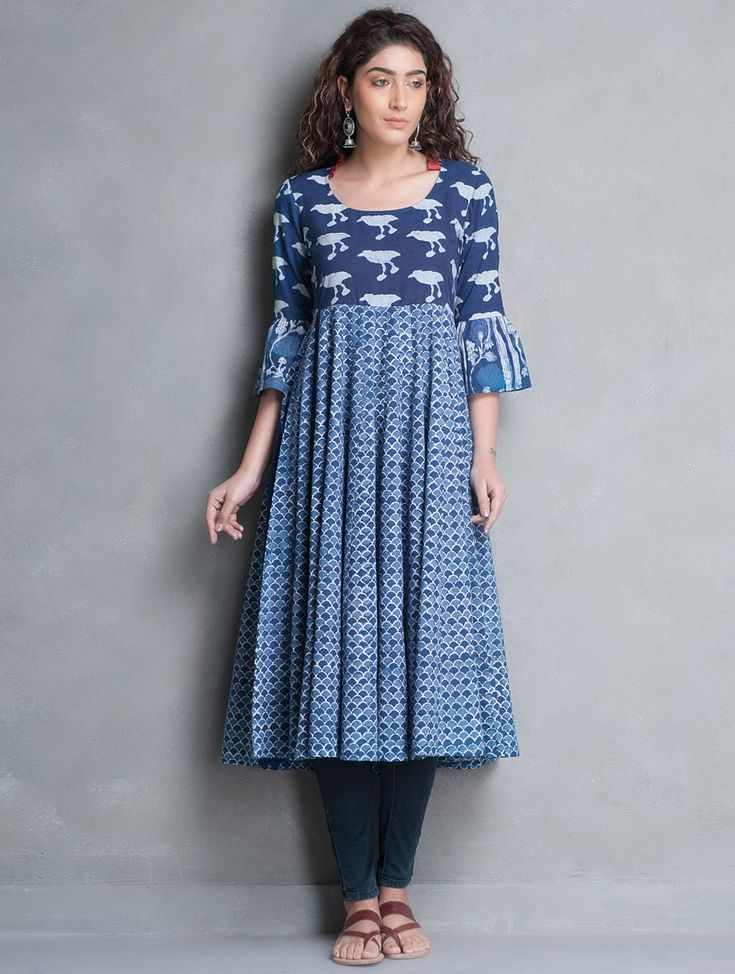 Buy Indigo Bagru Printed Kalidar Cotton Kurta Cottonn Online at Jaypore.com