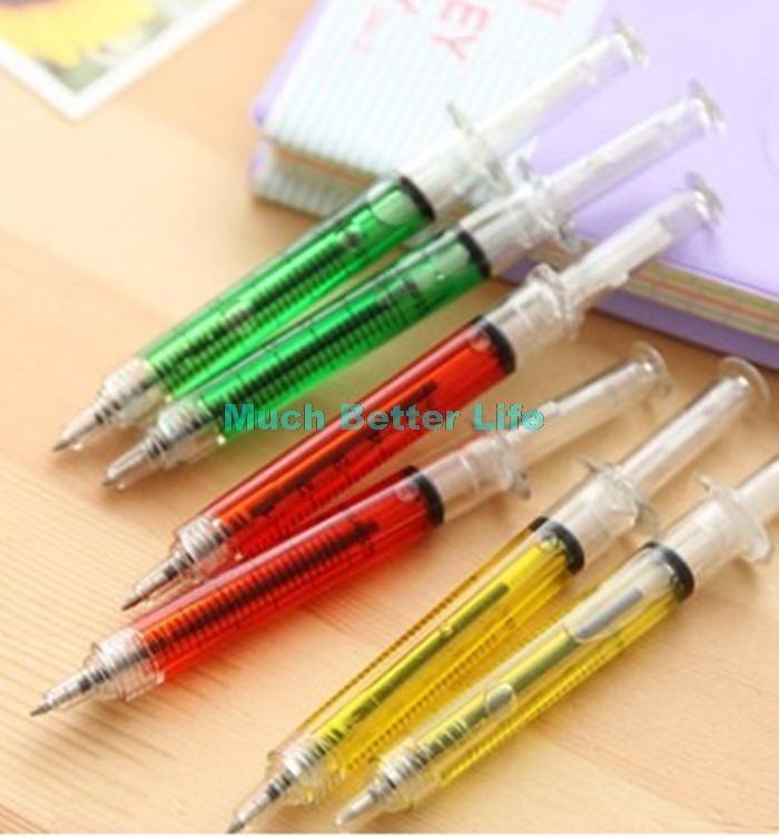 Ucuz Renkli yenilik İğne tüp yazma tükenmez şırınga akan sıvı mavi & siyah…