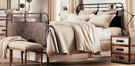 New bed?Restoration Hardware, Guest Bedrooms, Dreams Beds, Industrial Chic, Colors Schemes, Master Bedrooms, Beds Frames, Bedrooms Ideas, Iron Beds